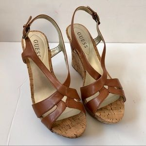 Guess 'Tarissa' Brown Leather Cork Wedge Sandals